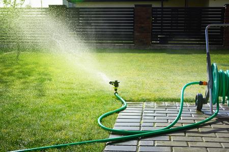 L'arroseur automatique pulvérise de l'eau sur l'herbe verte