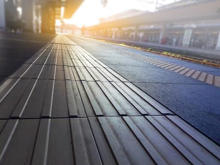 Blind froor tiles on train station platform