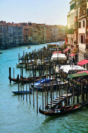 Venice, Italy. Gondolas in a romantic Grand canal