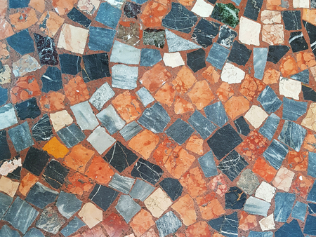 Detail of marble terrazzo flooring background texture in Bologna, Italy