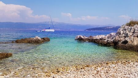 View from the beach  to the Adriatic sea near Trogir in Croatia
