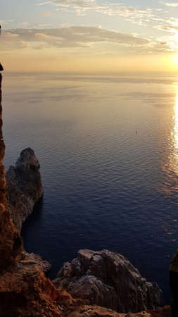 Beautiful sea and rocks view during sunset from Alanya castle at peninsula. Turkey 스톡 콘텐츠
