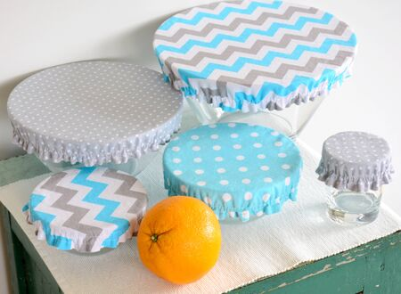 Set of bowls covered with reusable zero waste fabric cloth covers