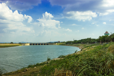 compacted: pasak dam,Compacted concrete dam in Lopburi, Thailand Stock Photo