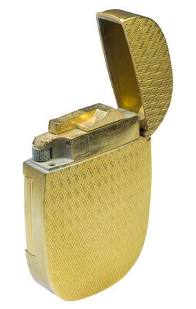 gas lighter: gold lighters in isolated white background
