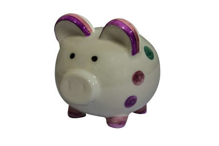 white piggy bank for saving with isolation photo