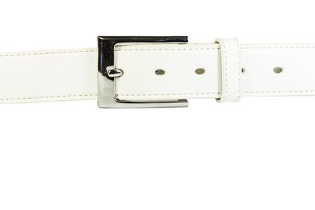 witte riem met geïsoleerde witte achtergrond Stockfoto