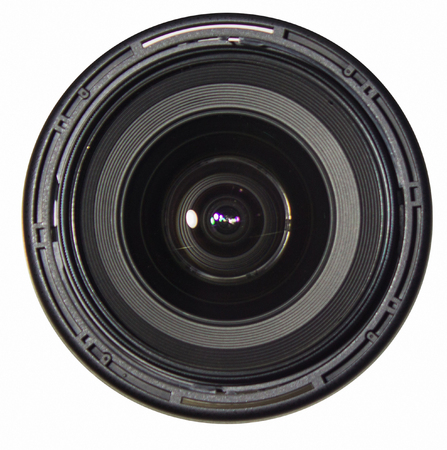 wide angle lens with isolated white background