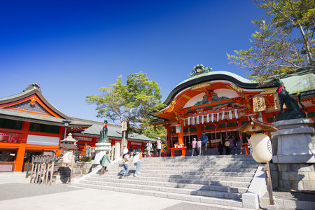 messengers of god: Fushimi Inari Shrine - 2014 October 29 : is an important Shinto shrine in southern Kyoto. It is famous for its thousands of vermilion torii gates, which straddle a network of trails behind its main buildings. The trails lead into the wooded forest of the  Editorial