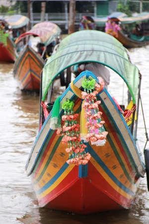 chao phraya river: traditional Thai boat in Chao Phraya River in Thailand Stock Photo