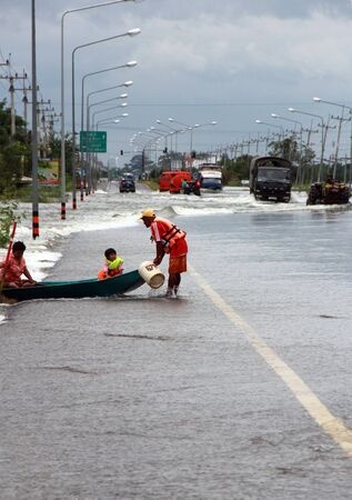 severe flood problem in Lopburi Thailand Stock Photo - 10900489