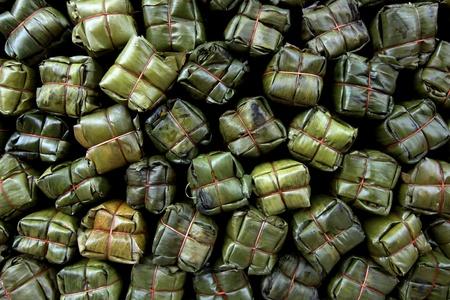 texture o smoky pork wrap by banana leaves