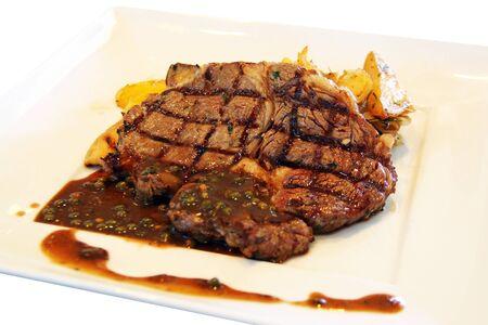 isolated rib-eye steak