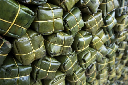 texture of pork wrap by banana leaves photo