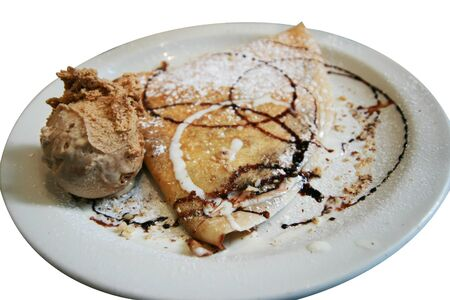 crepe: chocolate crepe with ice cream