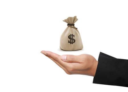money bag in business hand in white background photo