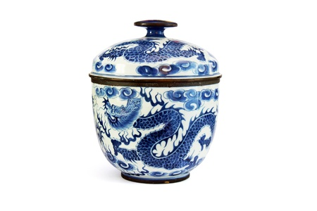 isolated old chinese ceramic dragon bowl Stock Photo - 11121925