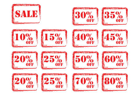 isolated red sale tags Vector