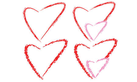 isolated four style of hearts Stock Vector - 11121935