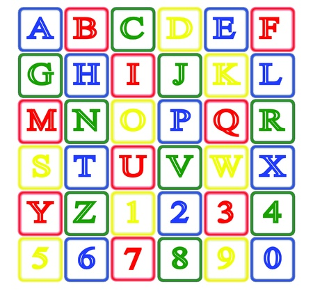 letter blocks: isolated baby block alphabet and number Illustration