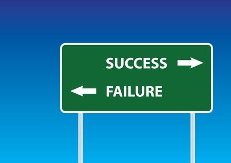 succes en falen verkeersbord onder de blauwe hemel