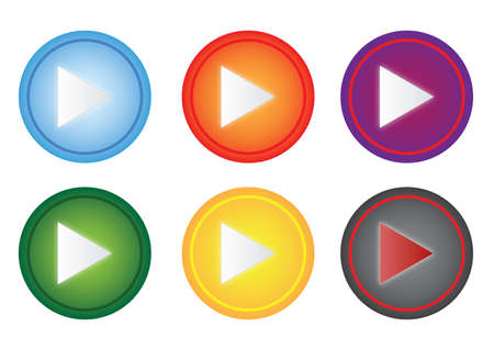 a set of colorful play button Stock Vector - 11154709