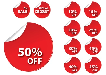 discount buttons: circle red sale tag for use