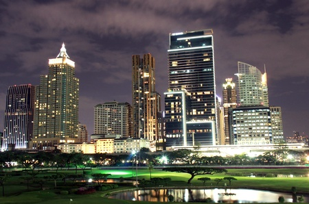 landscape of night in bangkok photo
