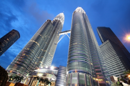 twin tower: night time in front of petronas tower