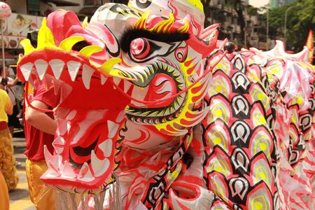 lion dance: dragon for the show in china town Stock Photo