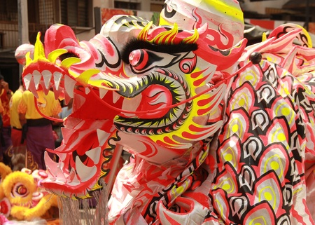 a dragon for the show in china town photo