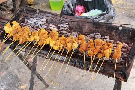 chicken satay on a grill pan Stock Photo - 11396496