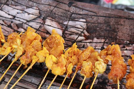 chicken satay on a grill pan Stock Photo - 11396493