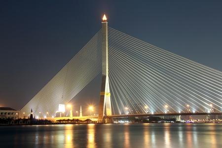 suspension bridge at night photo
