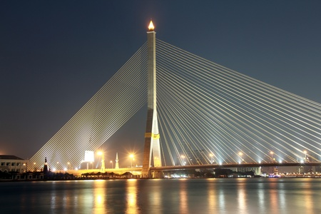 viii: suspension bridge at night Stock Photo