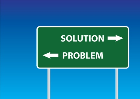 problem solution sign under a sky