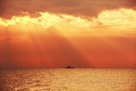landscape of silhouette boat and sea photo