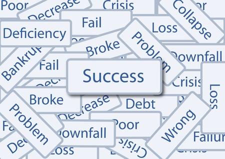 focus concept: success box amoung failure words
