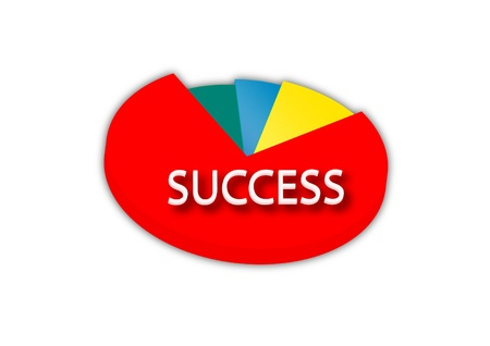 success pie chart in white background Vector