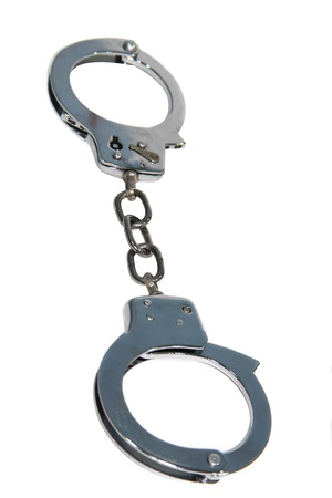 police handcuff in white background photo