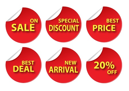 price cut: red circle various sale tag Illustration