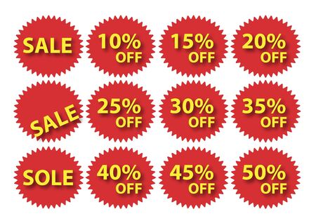 smooth zigzag red sale tag Vector