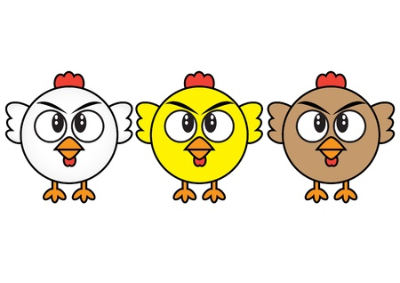�back ground�: chickens cartoon illustration in white back ground
