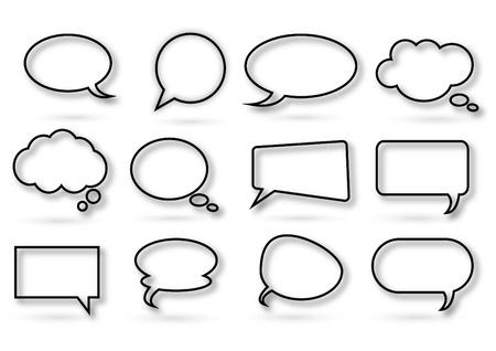 burbujas de pensamiento: diversos tipos de burbuja de chat en el fondo blanco Vectores