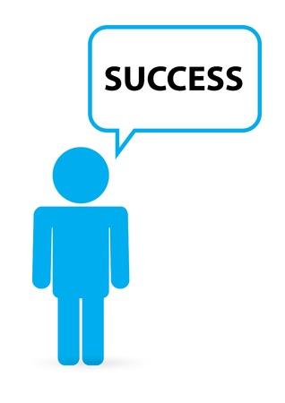 мысль: Человек с цитатой пузыря успеха