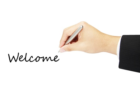 people holding sign: welcome hand writing in white background