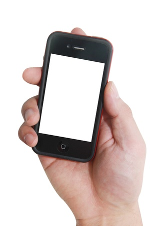 isolated hand with a mobile phone