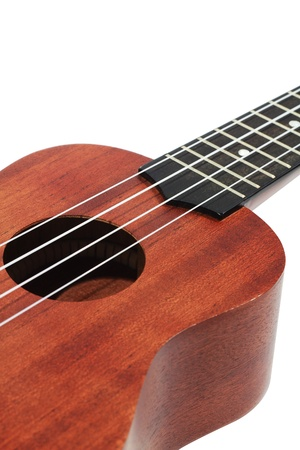 isolated part of brown wooden ukulele photo
