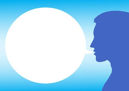 man with circle text box in blue color Vector