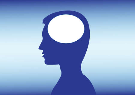 ideas in a mans head in blue color Vector